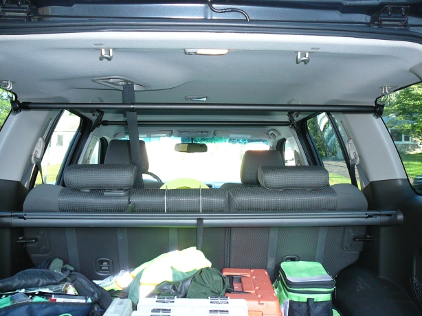 The view from the rear of the Xterra of both front and rear bars mounted sans holders.