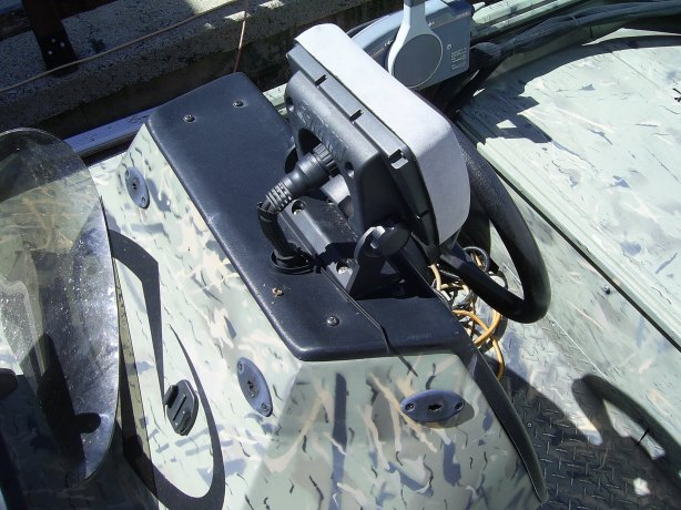 I decided to start on the console mounted fish finder first. The gimbal mount was easy to remove.